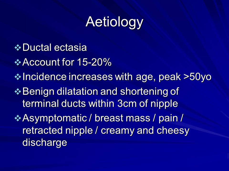 Aetiology Ductal ectasia Account for 15-20%