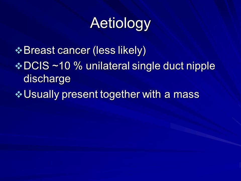 Aetiology Breast cancer (less likely)