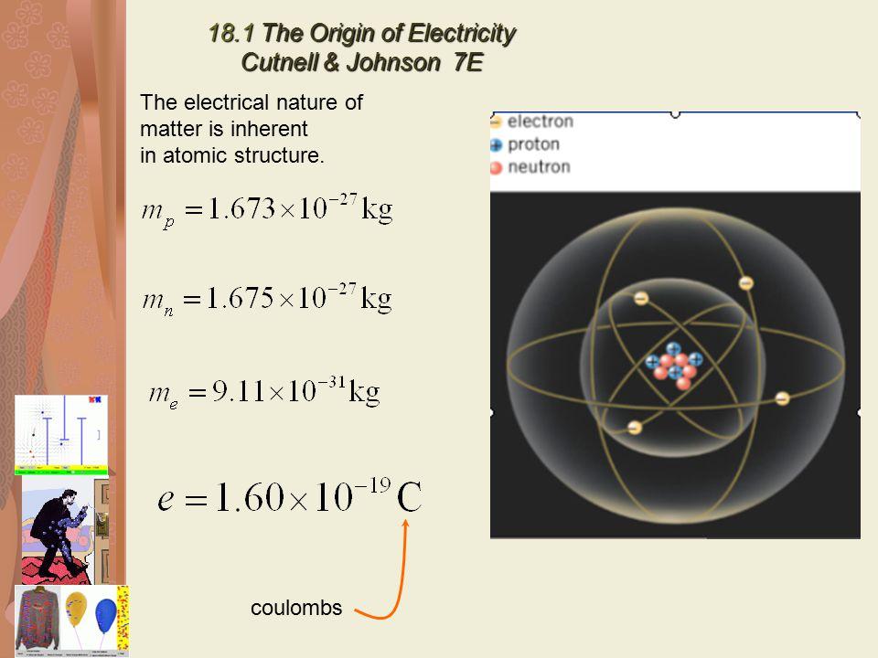 18.1 The Origin of Electricity Cutnell & Johnson 7E