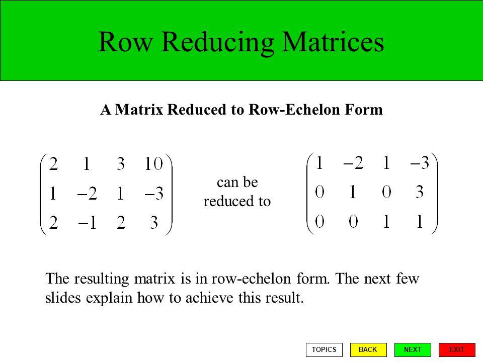 A Matrix Reduced to Row-Echelon Form