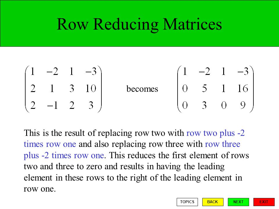 Row Reducing Matrices becomes