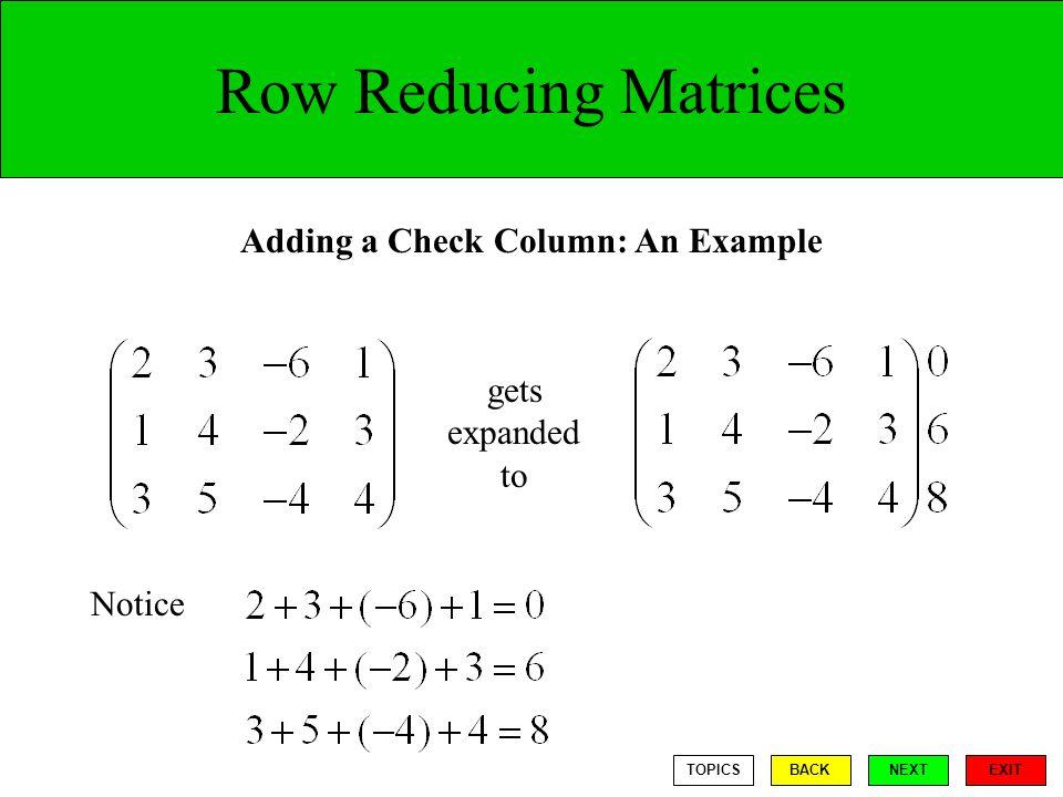 Adding a Check Column: An Example