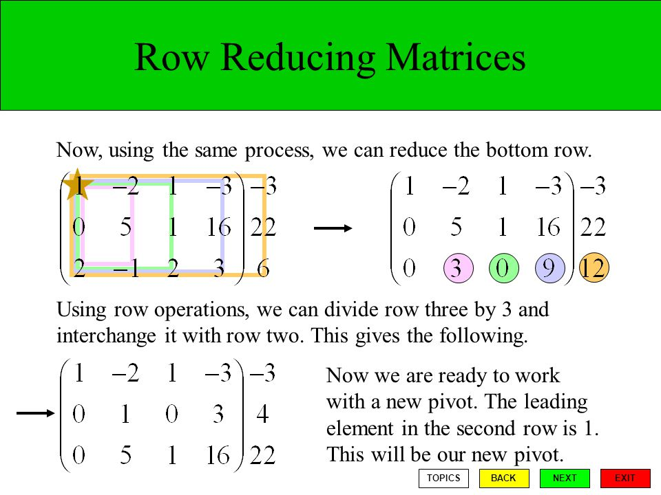 Row Reducing Matrices Now, using the same process, we can reduce the bottom row.