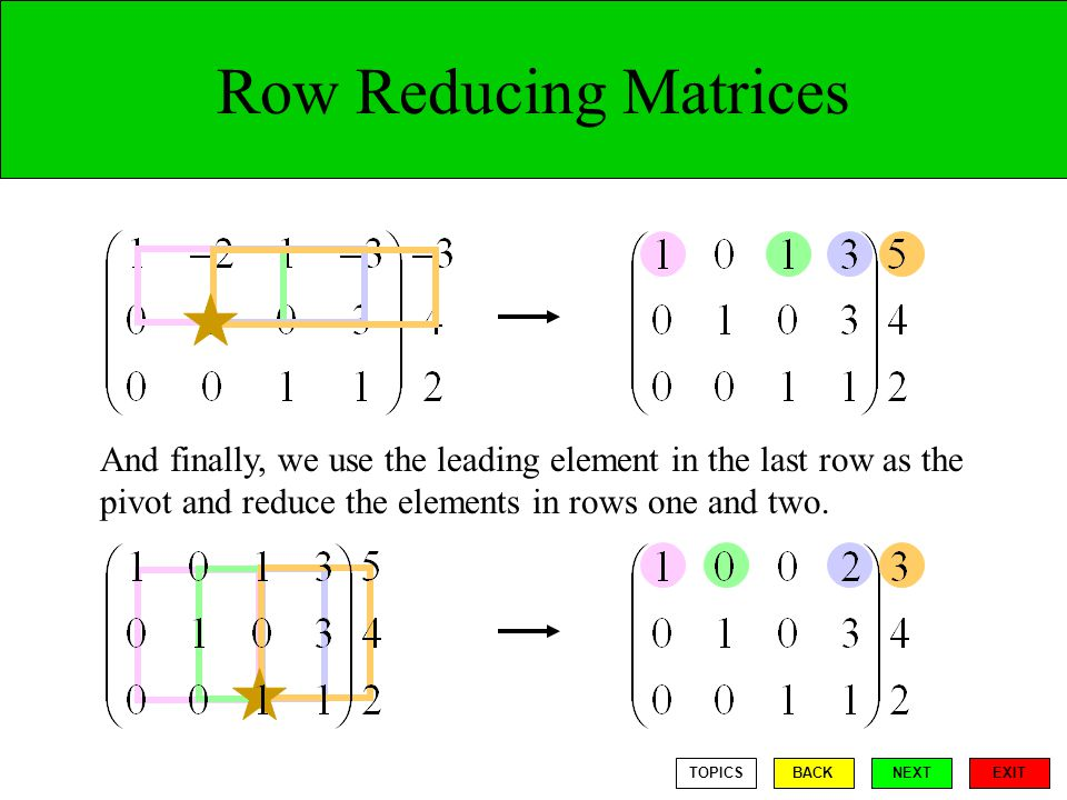 Row Reducing Matrices And finally, we use the leading element in the last row as the pivot and reduce the elements in rows one and two.