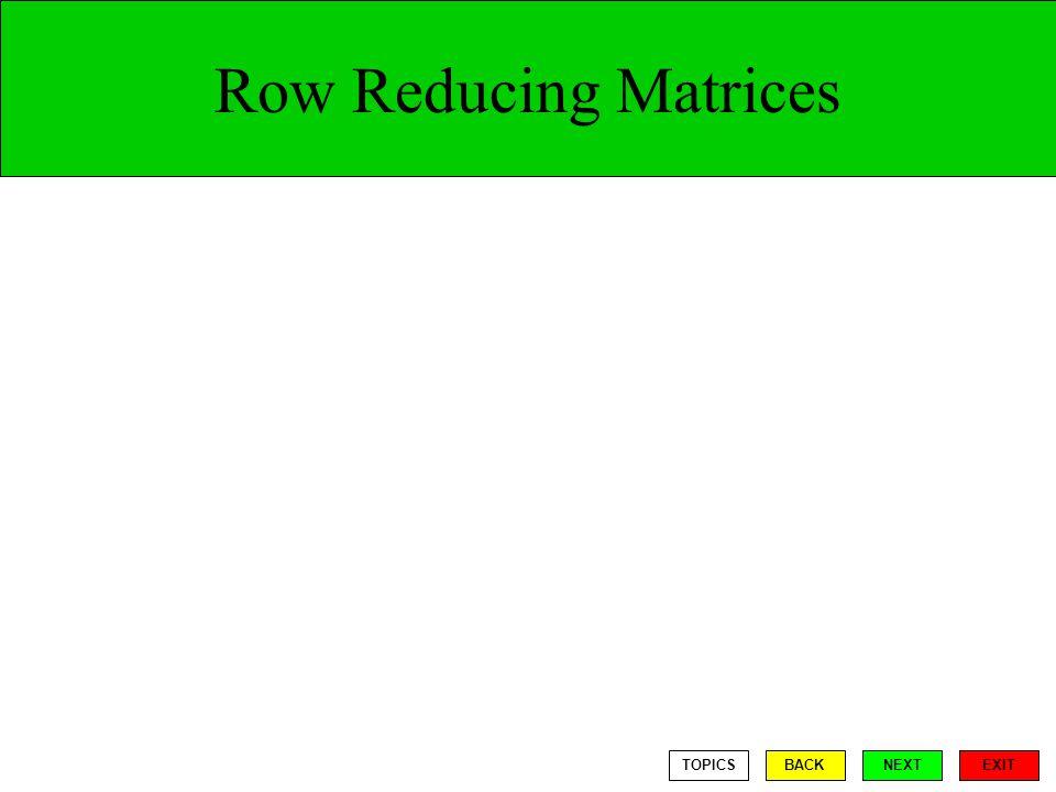 Row Reducing Matrices TOPICS BACK NEXT EXIT
