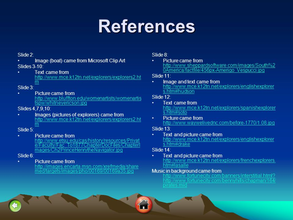 References Slide 2: Image (boat) came from Microsoft Clip Art