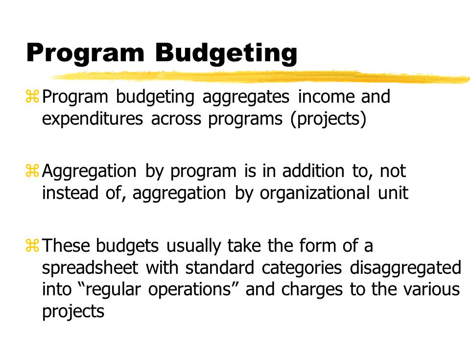 Program Budgeting Program budgeting aggregates income and expenditures across programs (projects)