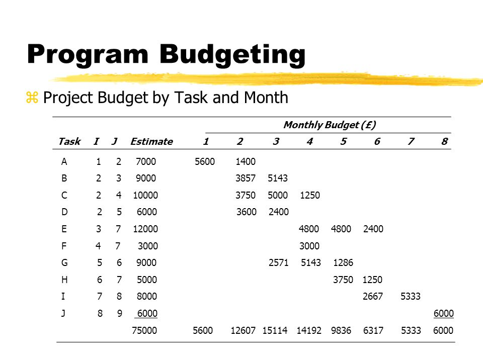 Program Budgeting Project Budget by Task and Month Monthly Budget (£)