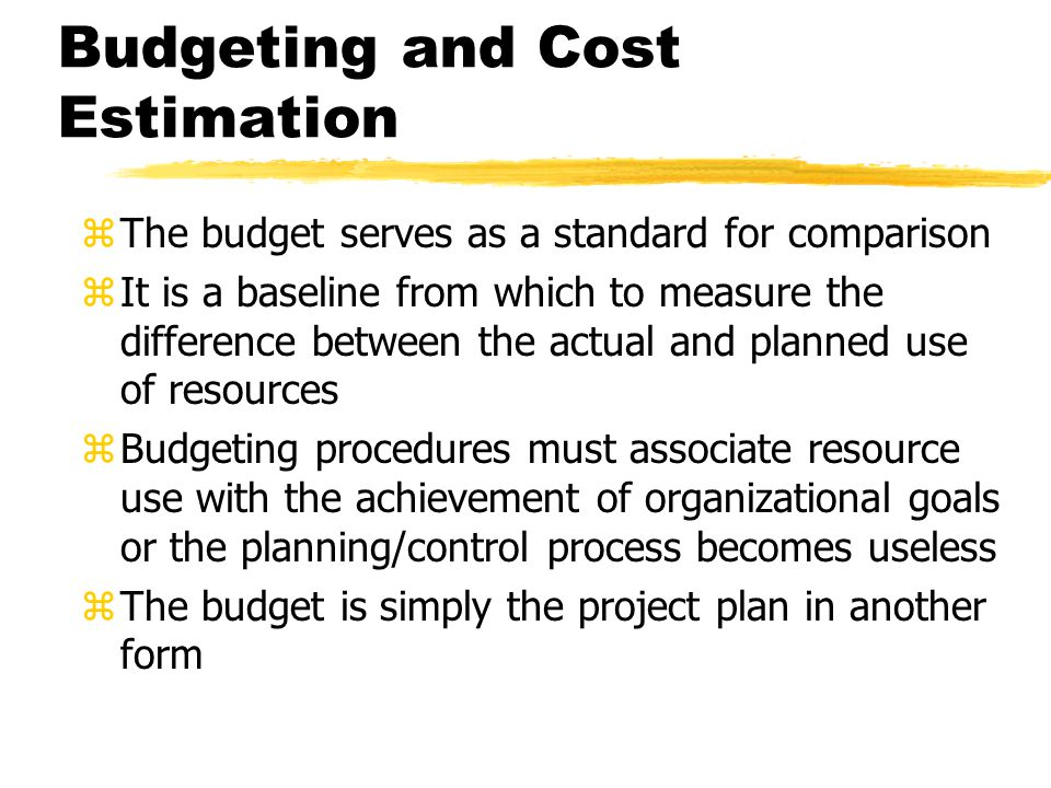 Budgeting and Cost Estimation
