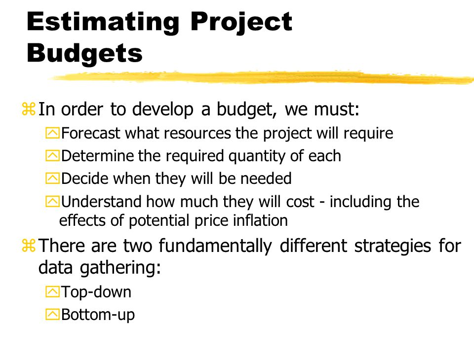 how to develop a project budget