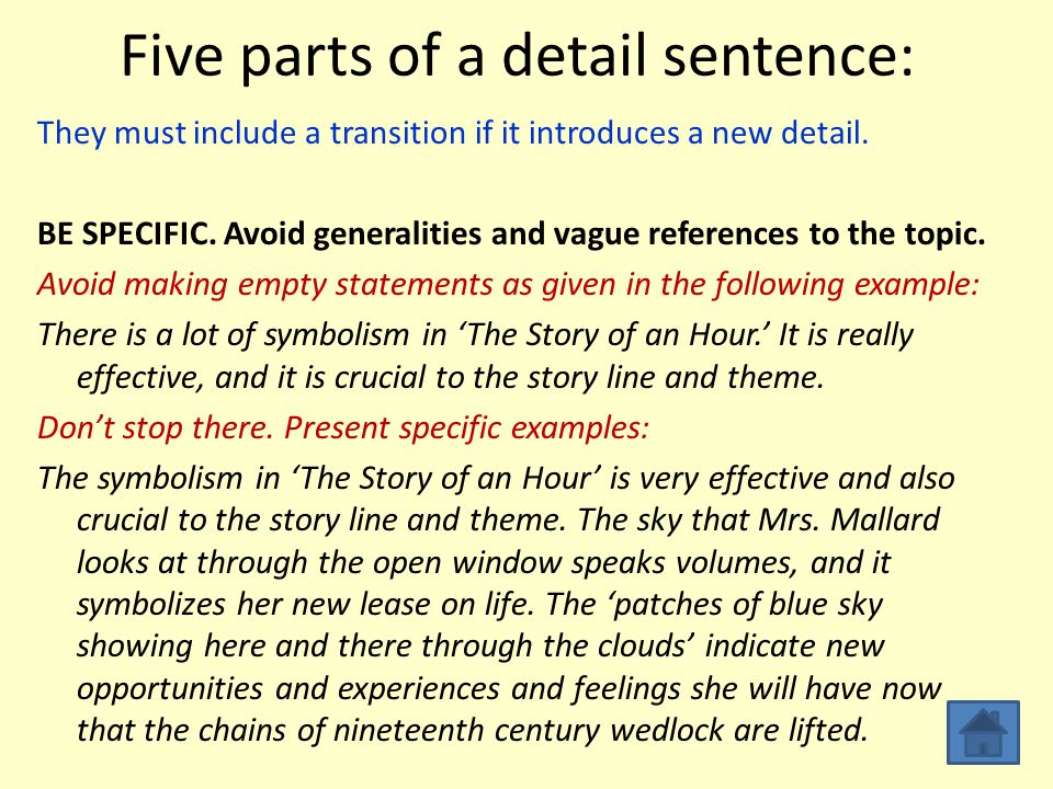 Five parts of a detail sentence: