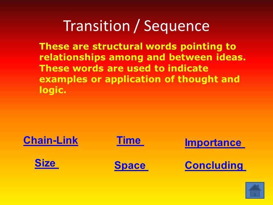 Transition / Sequence Chain-Link Time Importance Size Space Concluding