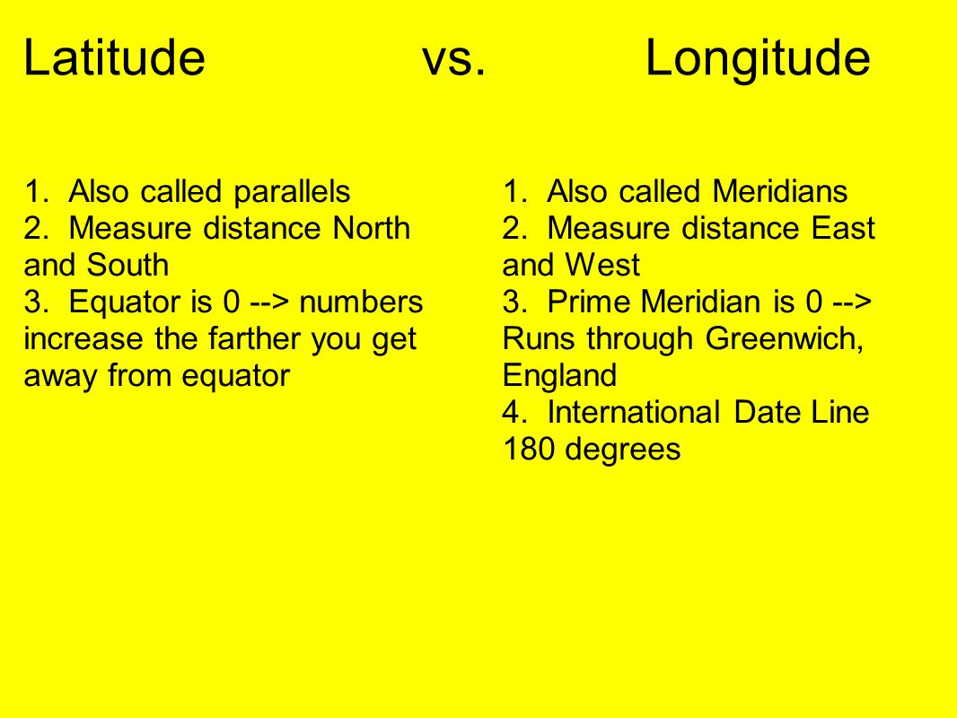 Latitude vs. Longitude 1. Also called parallels