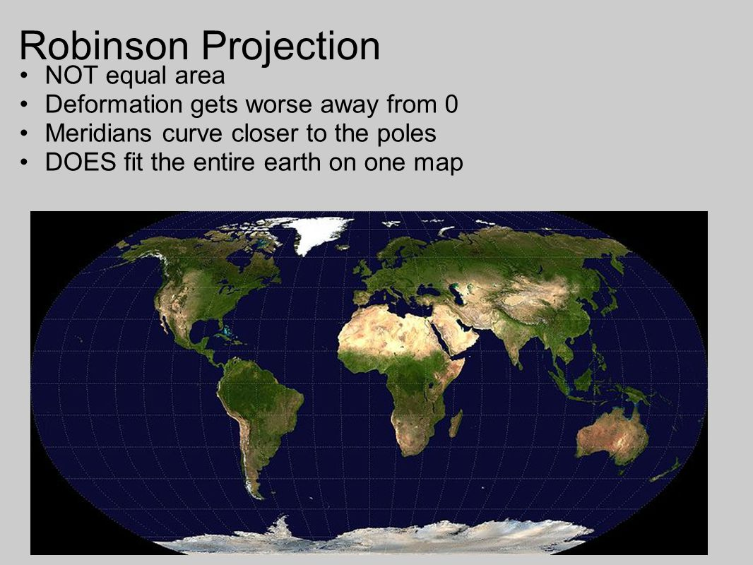 Robinson Projection NOT equal area Deformation gets worse away from 0
