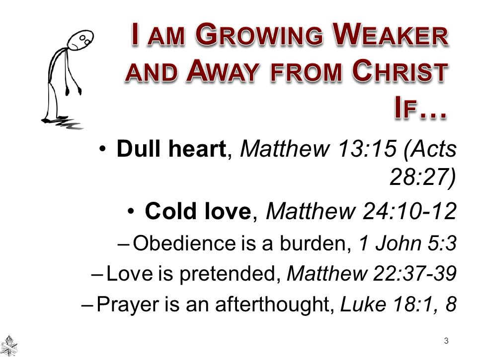 I am Growing Weaker and Away from Christ If…