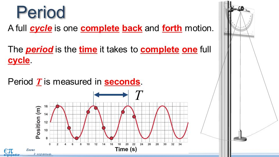 Period T A full cycle is one complete back and forth motion.