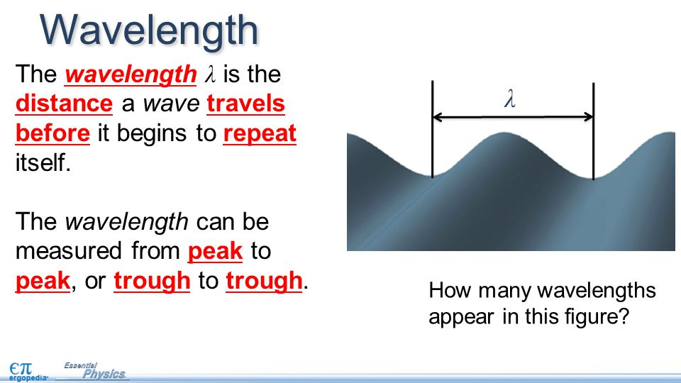 Wavelength The wavelength λ is the distance a wave travels before it begins to repeat itself.