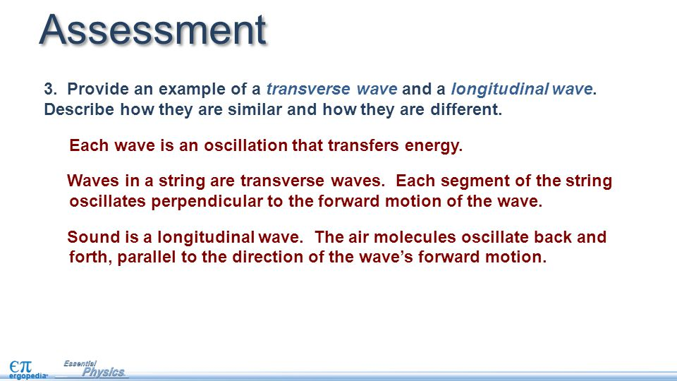 Assessment 3. Provide an example of a transverse wave and a longitudinal wave. Describe how they are similar and how they are different.