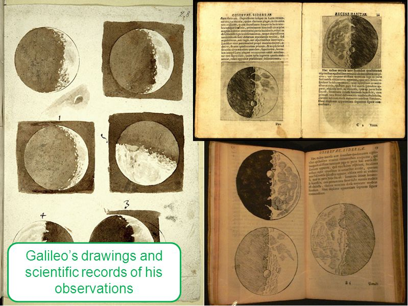 Galileo's drawings and scientific records of his observations