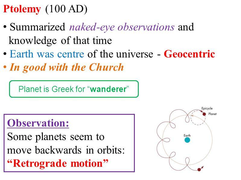 Planet is Greek for wanderer