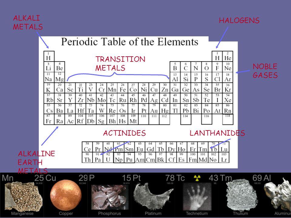 ALKALI METALS HALOGENS. TRANSITION METALS. NOBLE GASES.