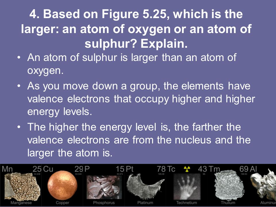 4. Based on Figure 5.25, which is the larger: an atom of oxygen or an atom of sulphur Explain.
