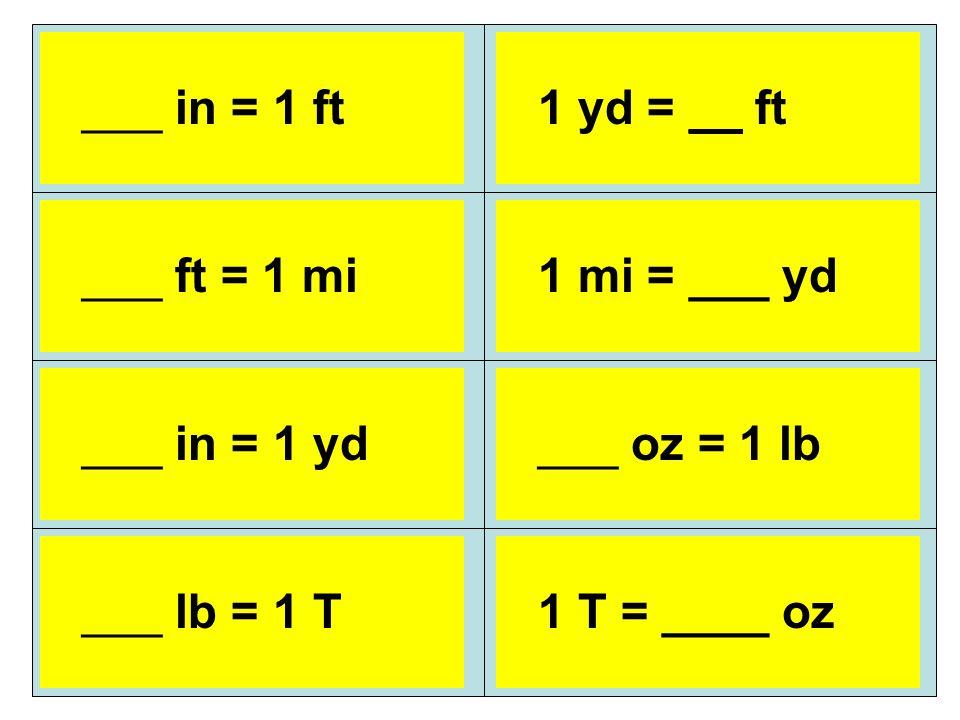 12 in = 1 ft 5,280 ft = 1 mi 36 in = 1 yd 1 yd = 3 ft 1 mi = 1,760 ...