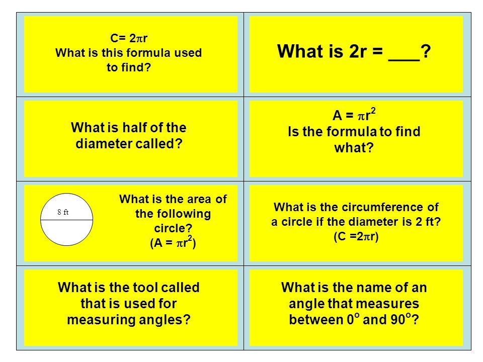 radius 50.24 ft2 Area of a circle 6.28 ft protractor Acute angle