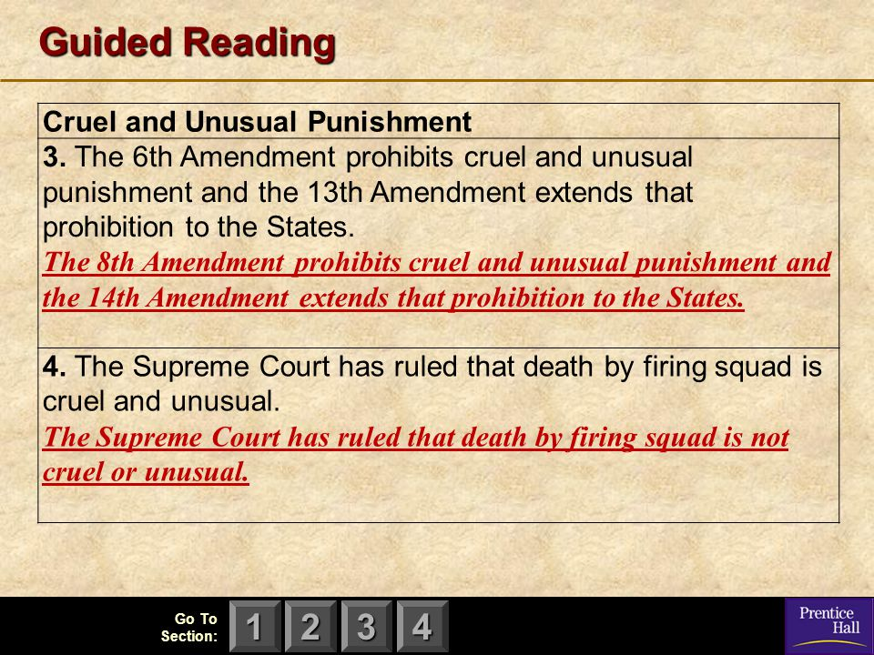 Guided Reading Cruel and Unusual Punishment