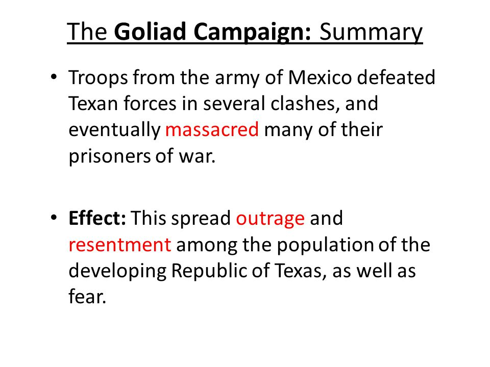 goliad guys The battle of goliad was the second skirmish of the texas the texians soon learned that cos and his men had already departed for san antonio de béxar but.