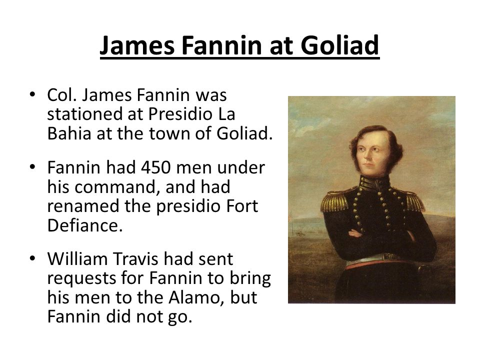 James Fannin at Goliad Col. James Fannin was stationed at Presidio La Bahia at the town of Goliad.