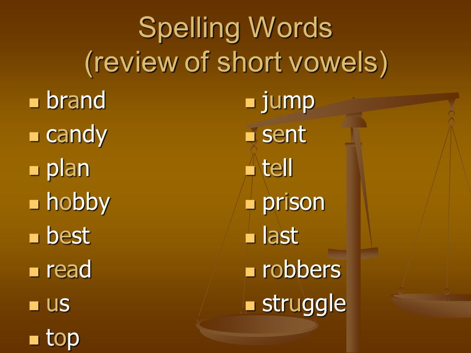 Spelling Words (review of short vowels)