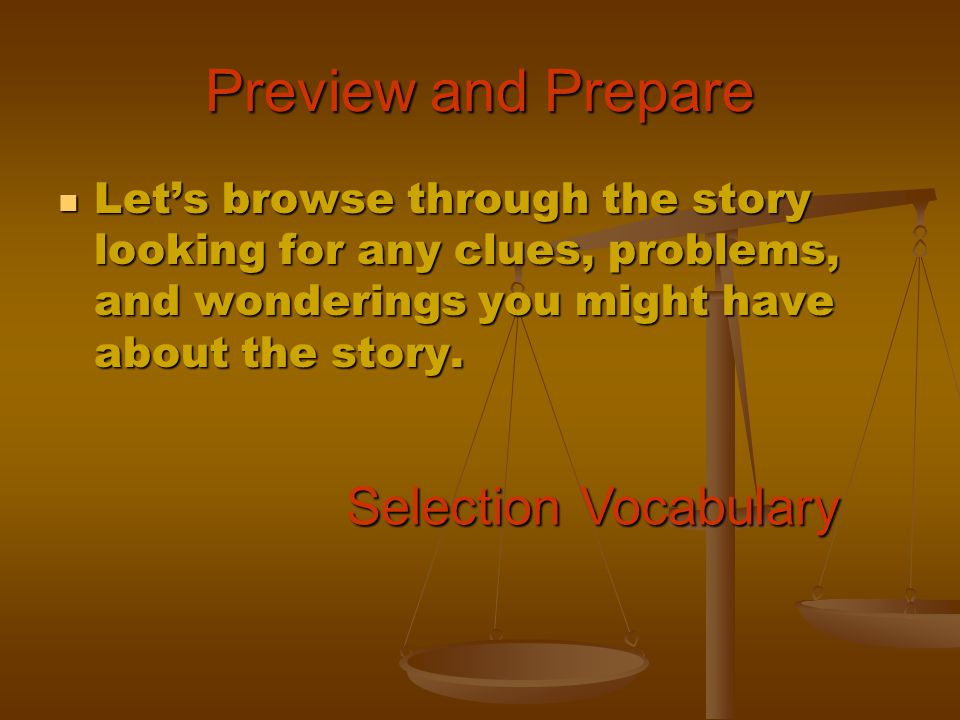 Preview and Prepare Selection Vocabulary