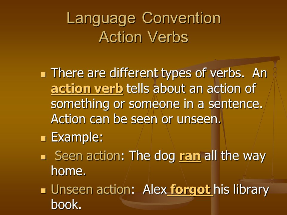 Language Convention Action Verbs