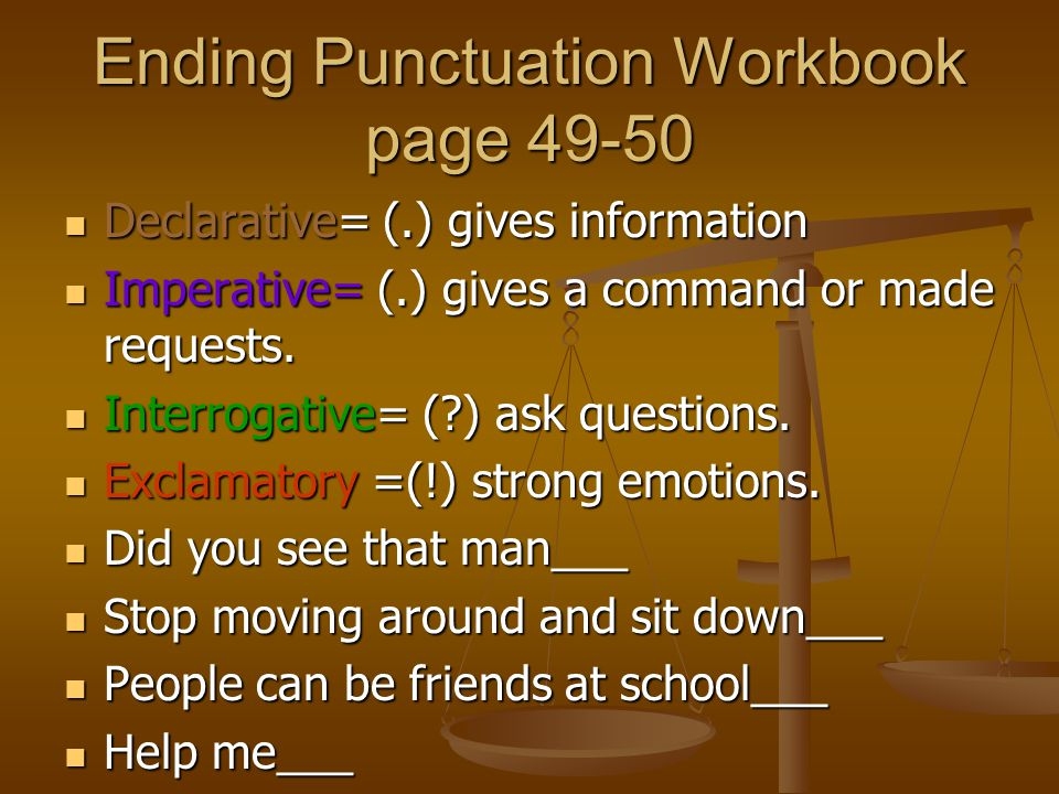 Ending Punctuation Workbook page 49-50