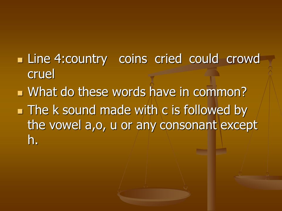 Line 4:country coins cried could crowd cruel
