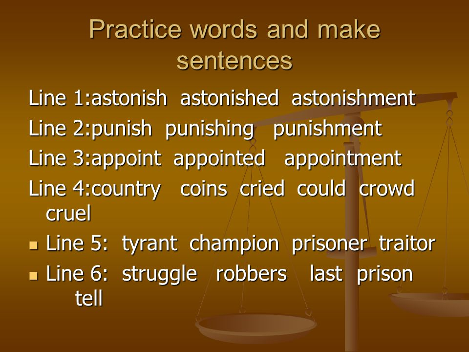 Practice words and make sentences
