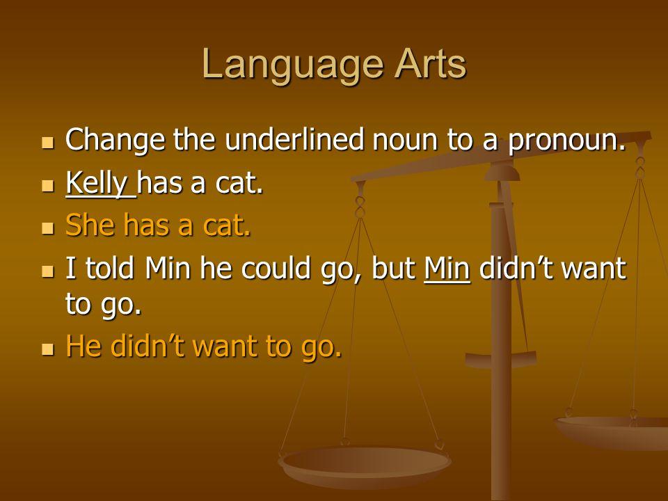 Language Arts Change the underlined noun to a pronoun.