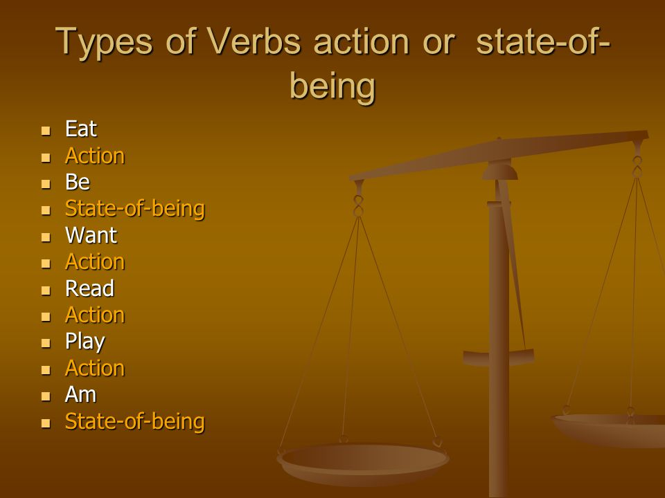 Types of Verbs action or state-of-being