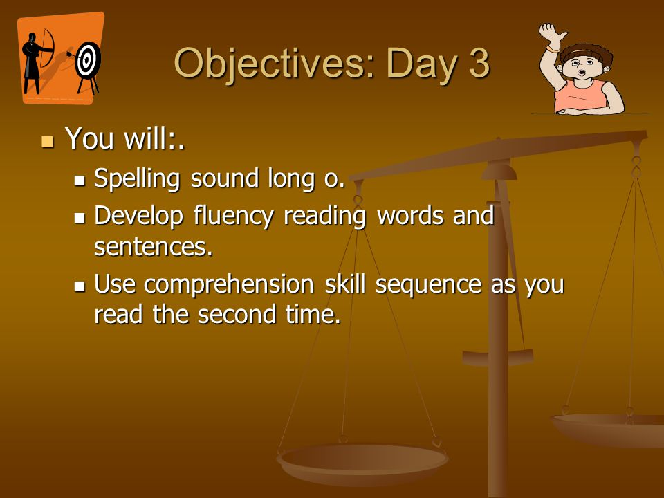 Objectives: Day 3 You will:. Spelling sound long o.