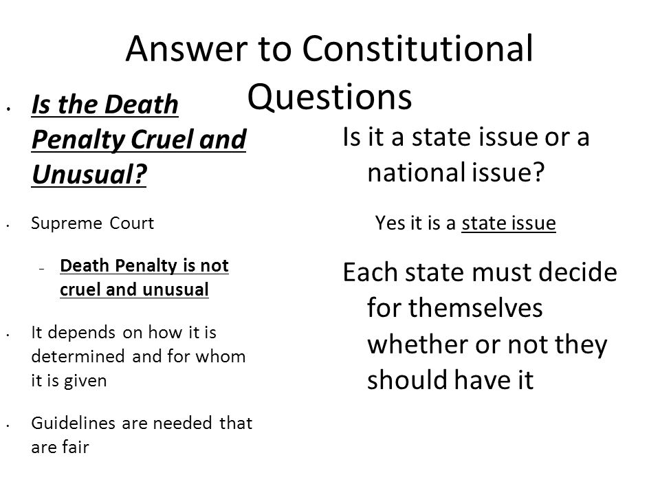 Answer to Constitutional Questions