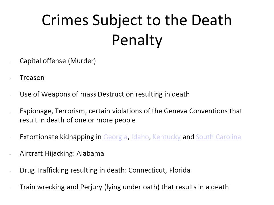 Crimes Subject to the Death Penalty