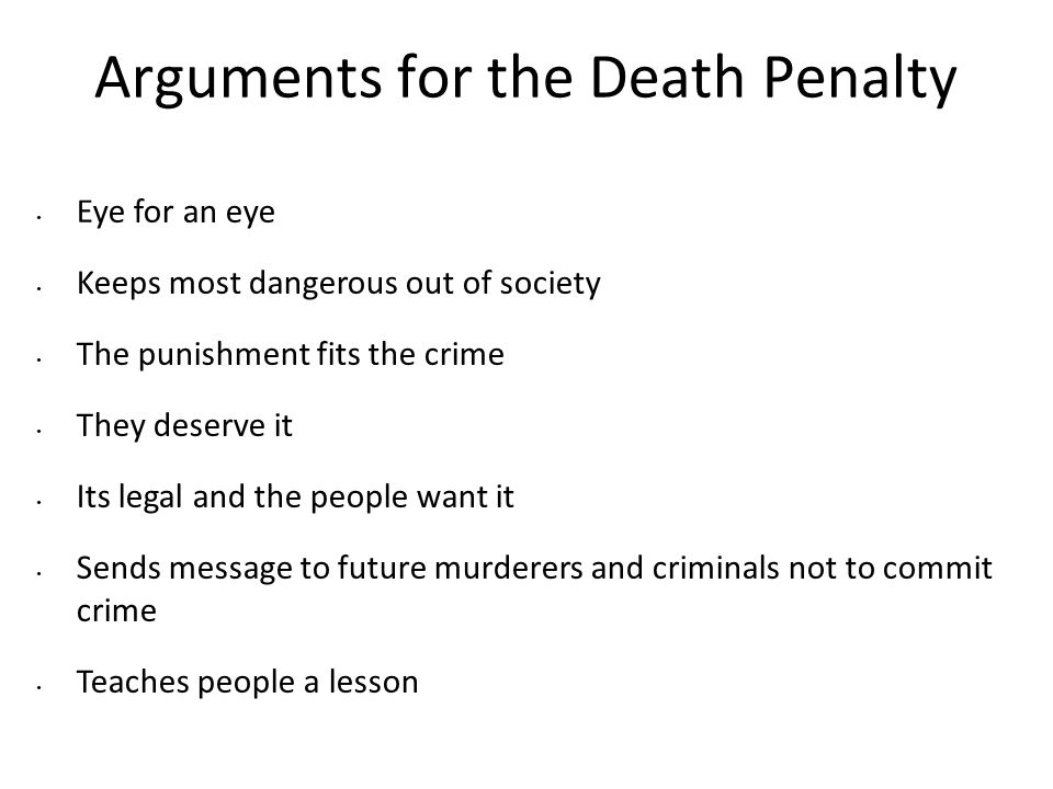 the death penalty is a deserved and just punishment for murder Just because someone is  jail for life is a far greater punishment i find death penalty pretty soft compared  i can see murder getting the death penalty,.