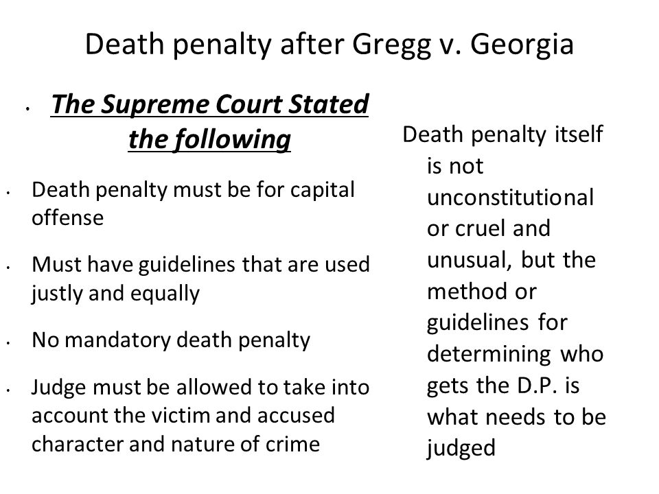 Death penalty after Gregg v. Georgia