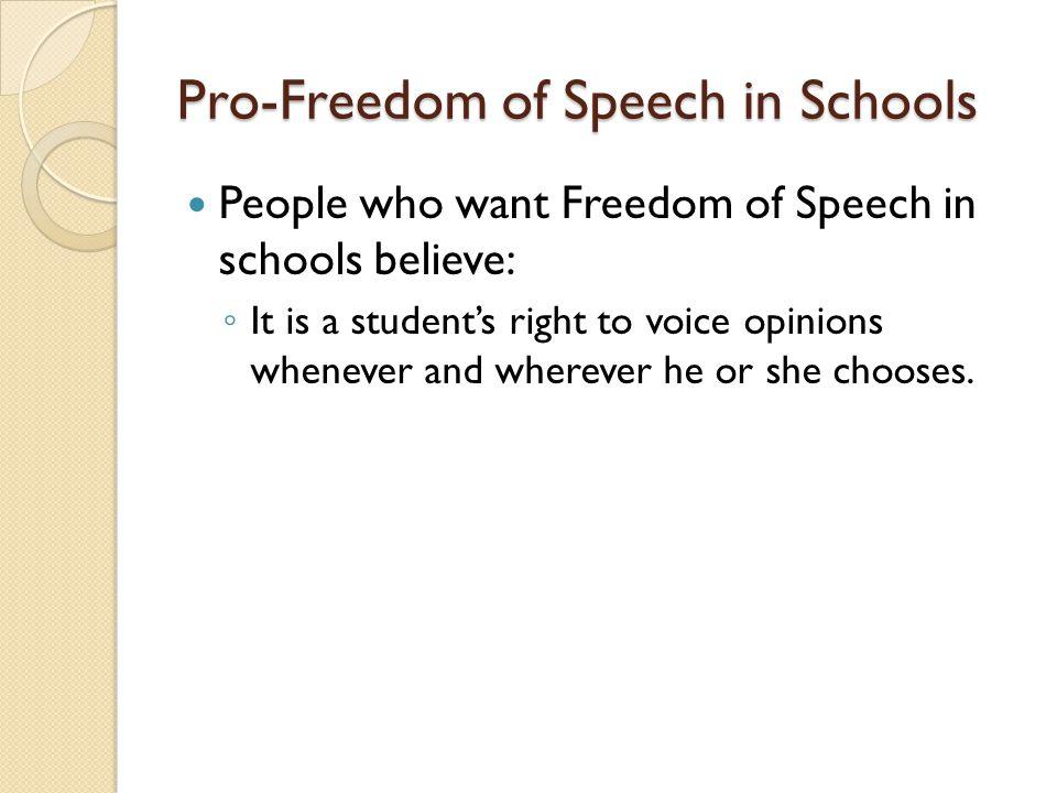 Pro-Freedom of Speech in Schools