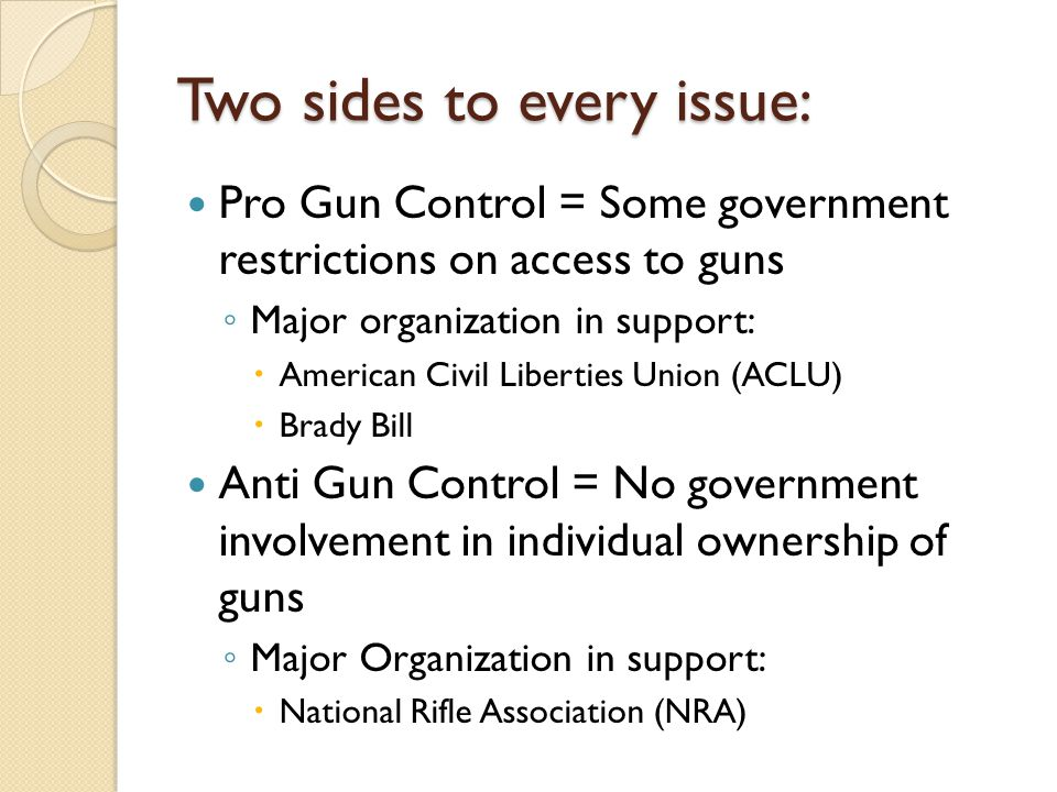 Two sides to every issue: