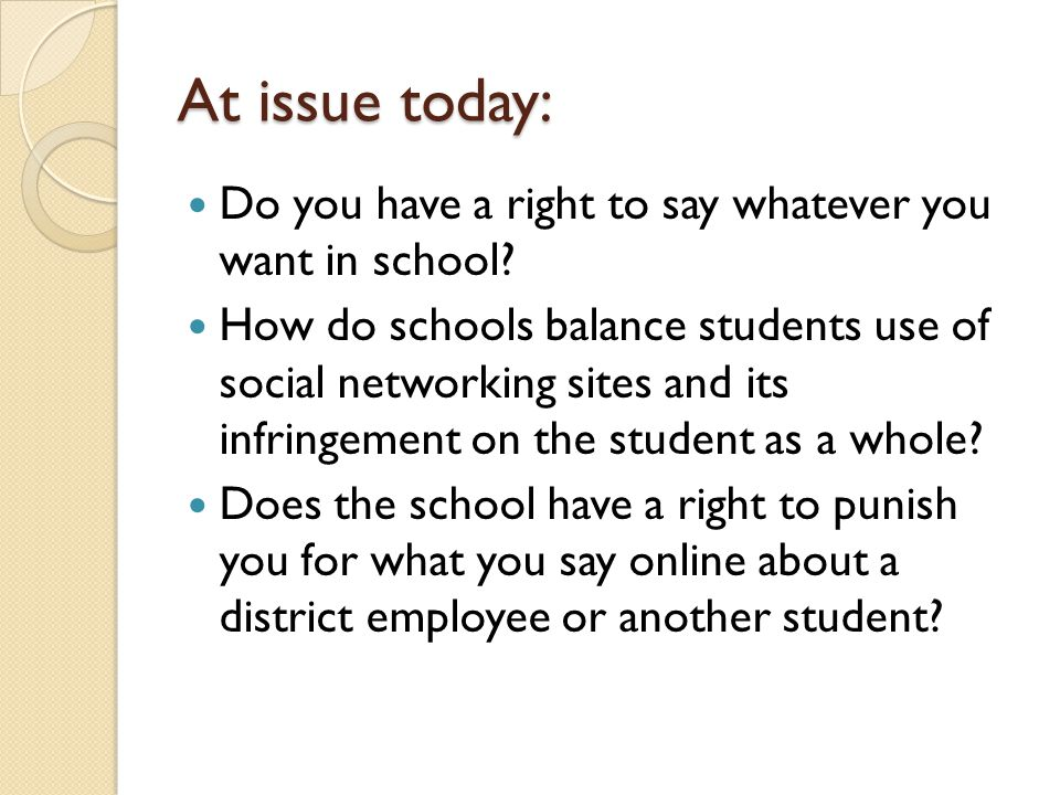 At issue today: Do you have a right to say whatever you want in school