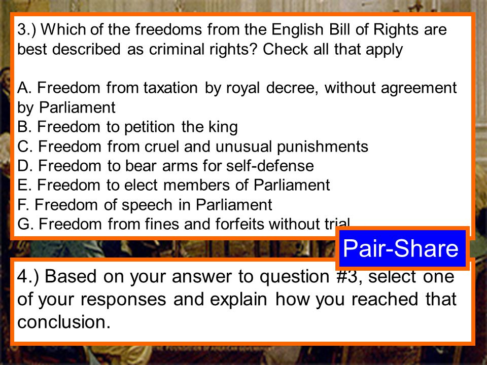3.) Which of the freedoms from the English Bill of Rights are best described as criminal rights Check all that apply