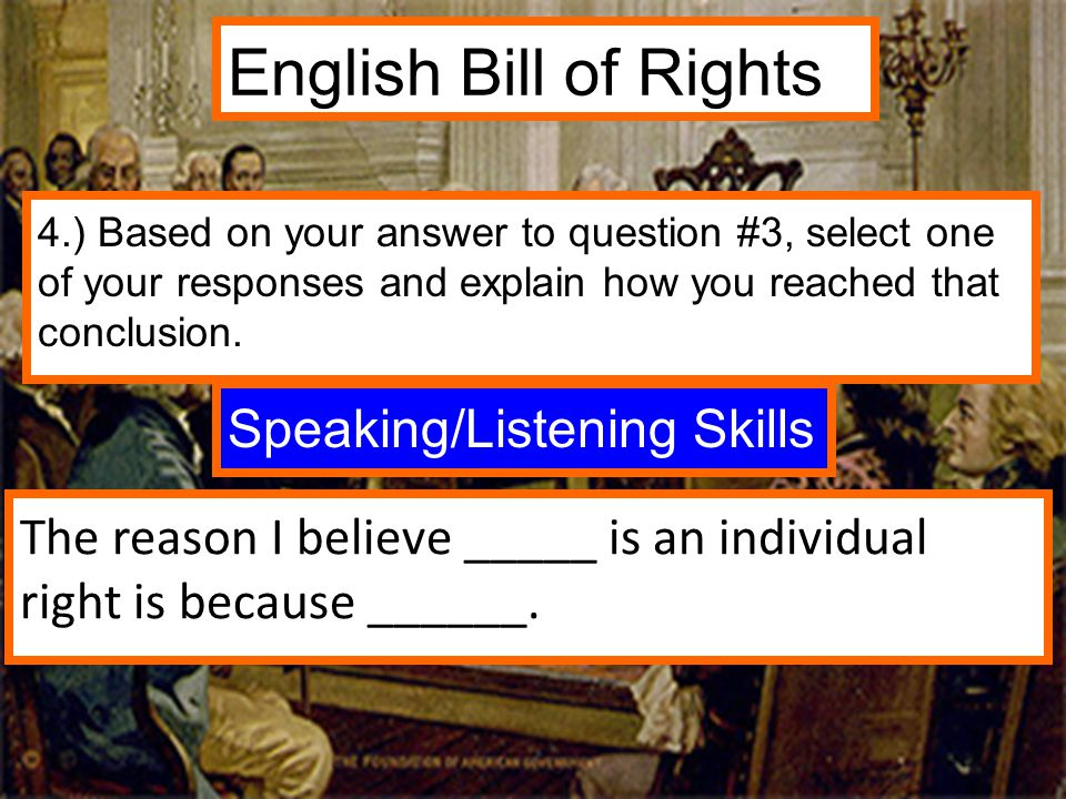 English Bill of Rights Speaking/Listening Skills