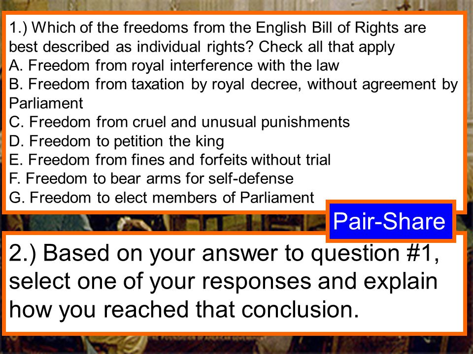 1.) Which of the freedoms from the English Bill of Rights are best described as individual rights Check all that apply